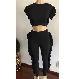 Pants - Black ruffled top & bottom